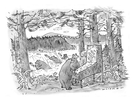 bill-woodman-two-bears-play-a-salmon-run-themed-pinball-machine-outdoors-in-the-woods-new-yorker-cartoon